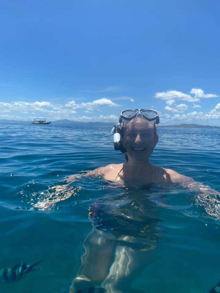 Stasha swimming in the sea in Fiji